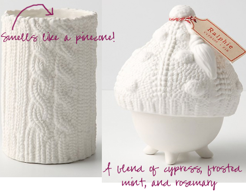 cable-knit candles